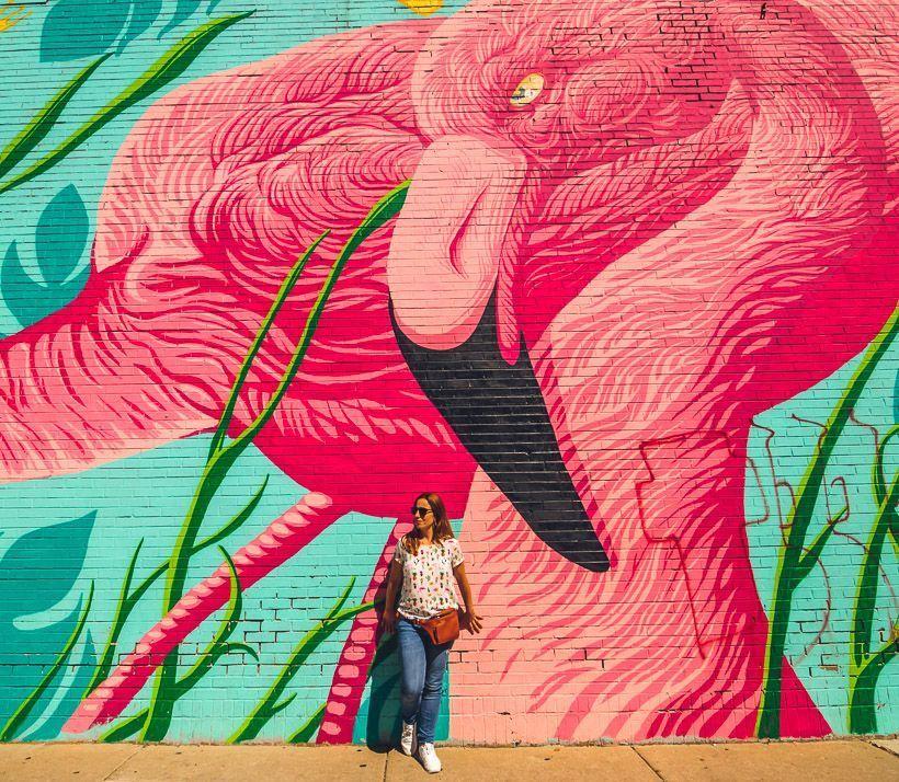 Flamingo mural